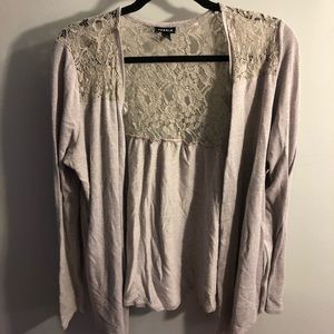 Sweaters - Lace accented cardigan